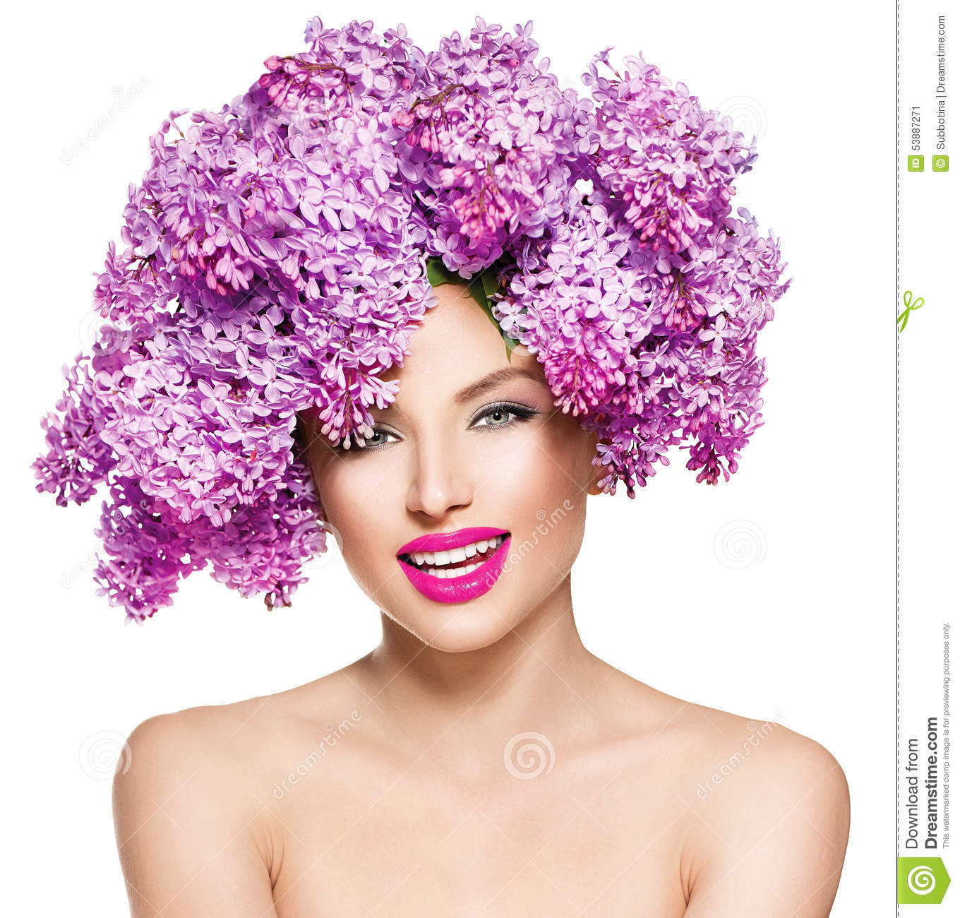 Download Fashion Model Girl With Lilac Flowers Hairstyle Stock Image - Image of color, hairdresser: 53887271