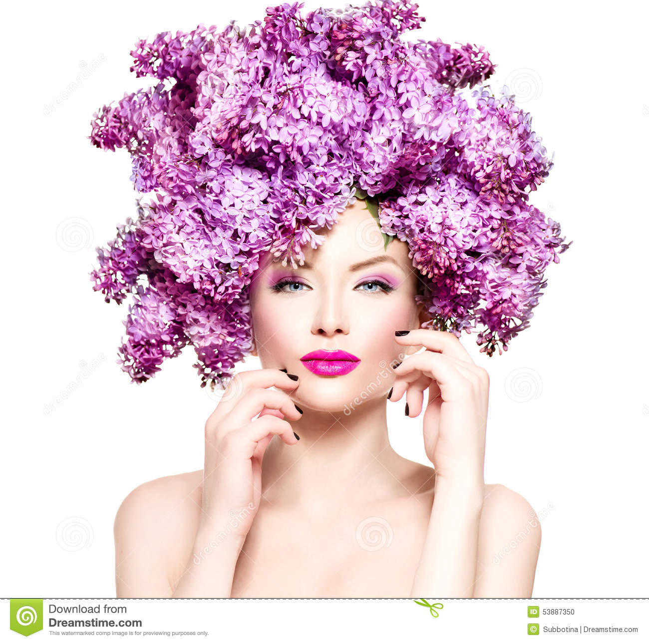 Fashion Model Girl With Lilac Flowers Hairstyle Stock