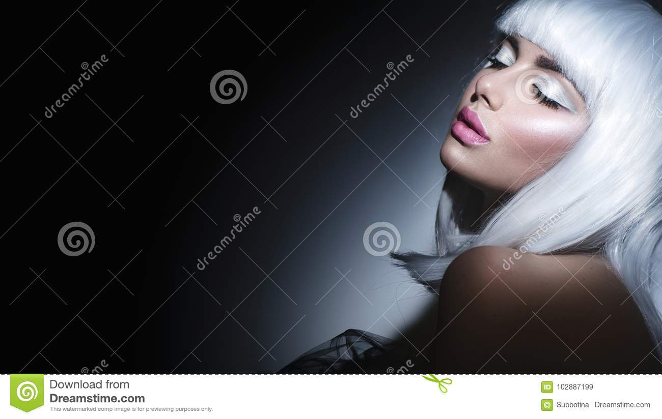 Fashion model girl portrait. Beauty woman with white hair