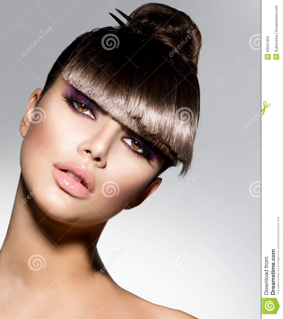 Fringe Fashion Model Girl With Trendy Hairstyle Haircut