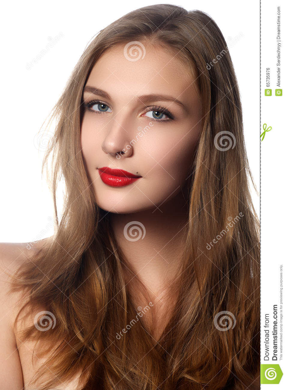 Fashion Model Girl Portrait With Long Blowing Hair Glamour