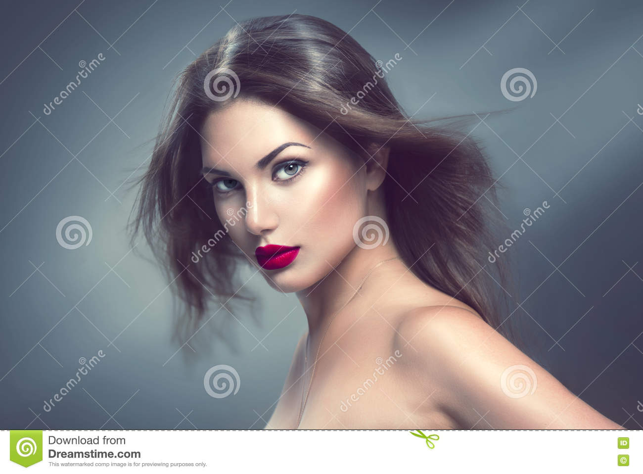 Fashion model girl portrait with long hair
