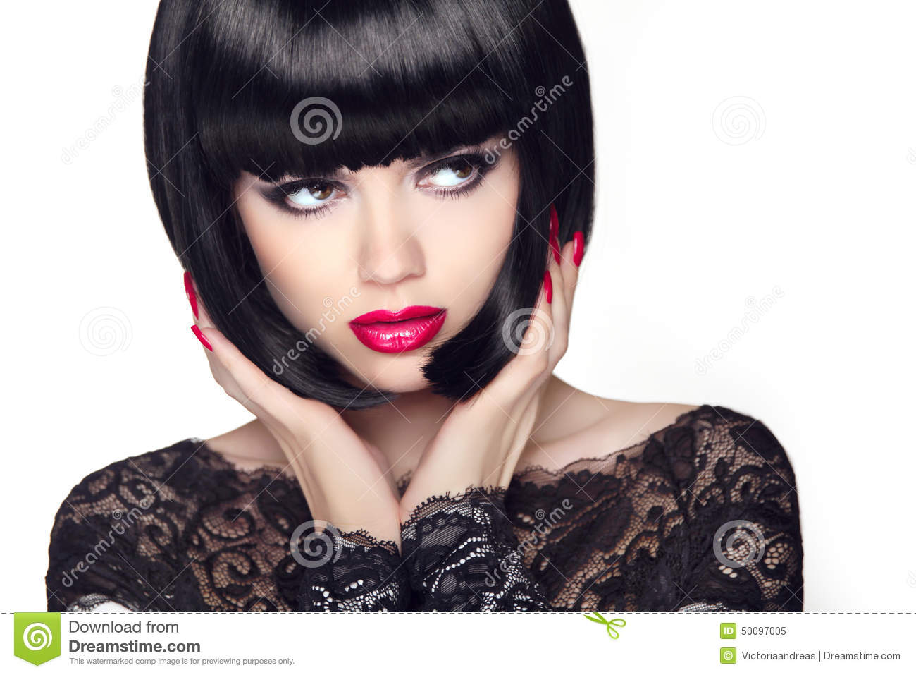 Fashion Model Girl With Trendy Hairstyle. Haircut. Stylish