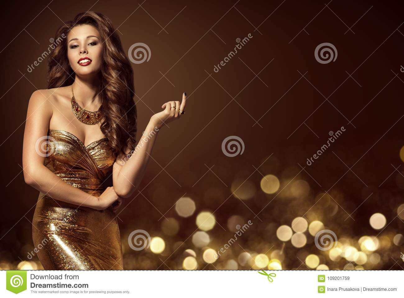 Fashion Model Gold Dress, Elegant Young Woman in Golden Gown