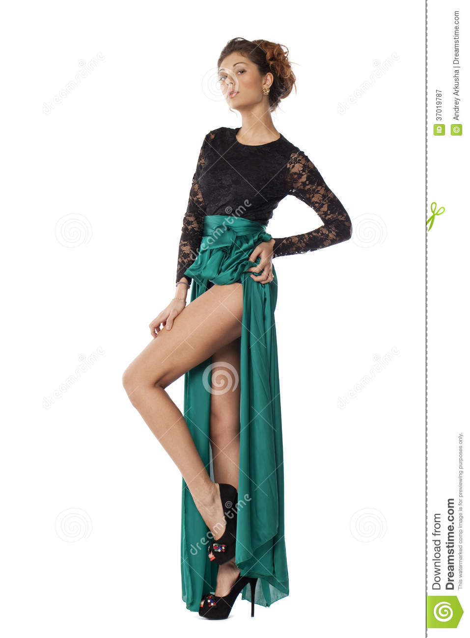 Fashion Model In Green Dress Stock Image - Image: 37019787
