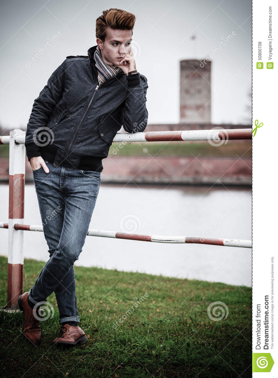 Fashion Model Guy Portrait Outdoors Stock Photo Image