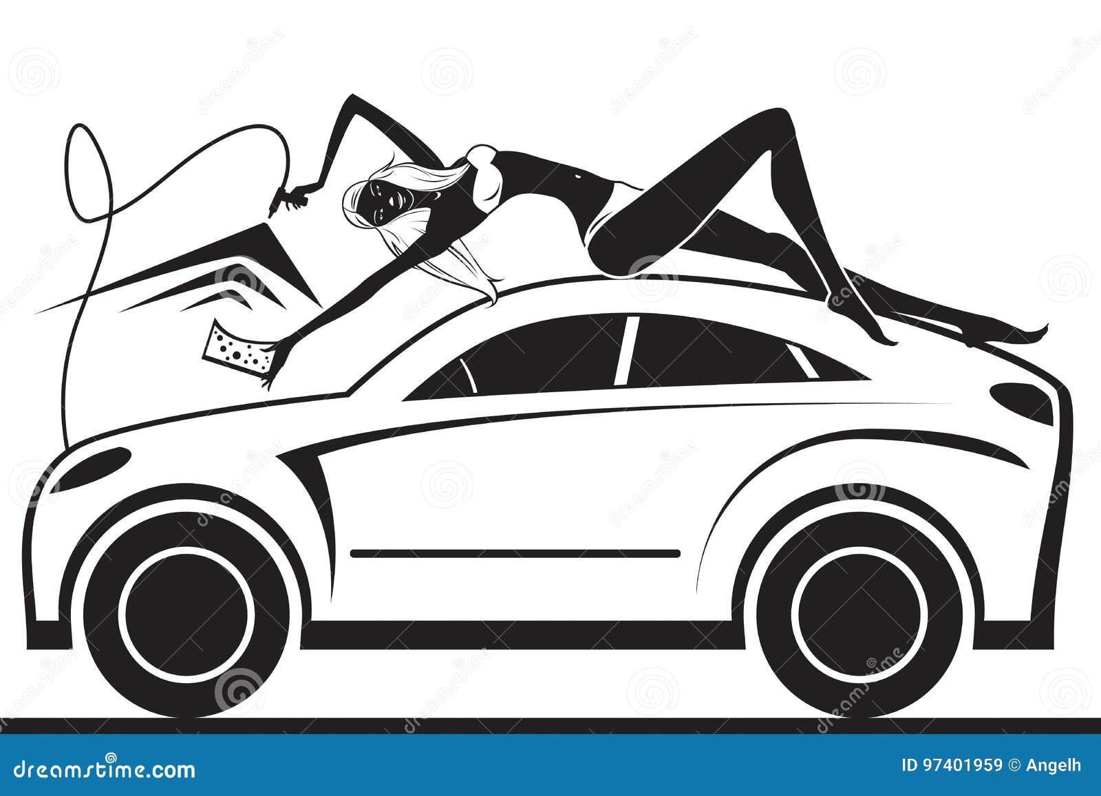 fashion model having fun in car wash stock vector