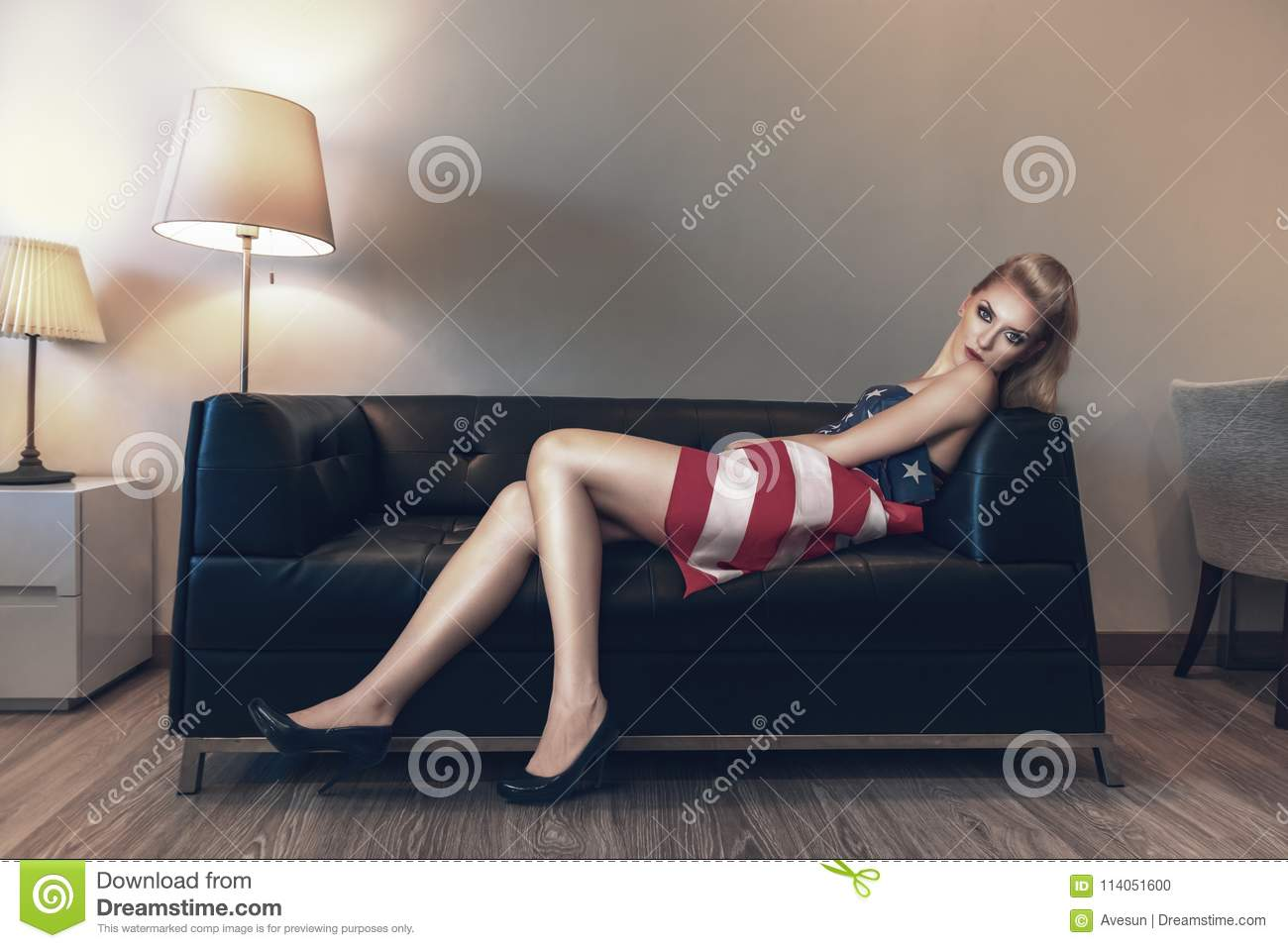 Laying down on the couch