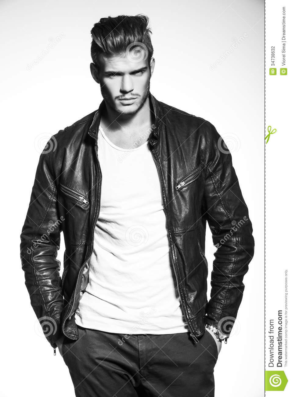 Leather jacket fashion - Fashion Model In Leather Jacket With Hands In His Pockets