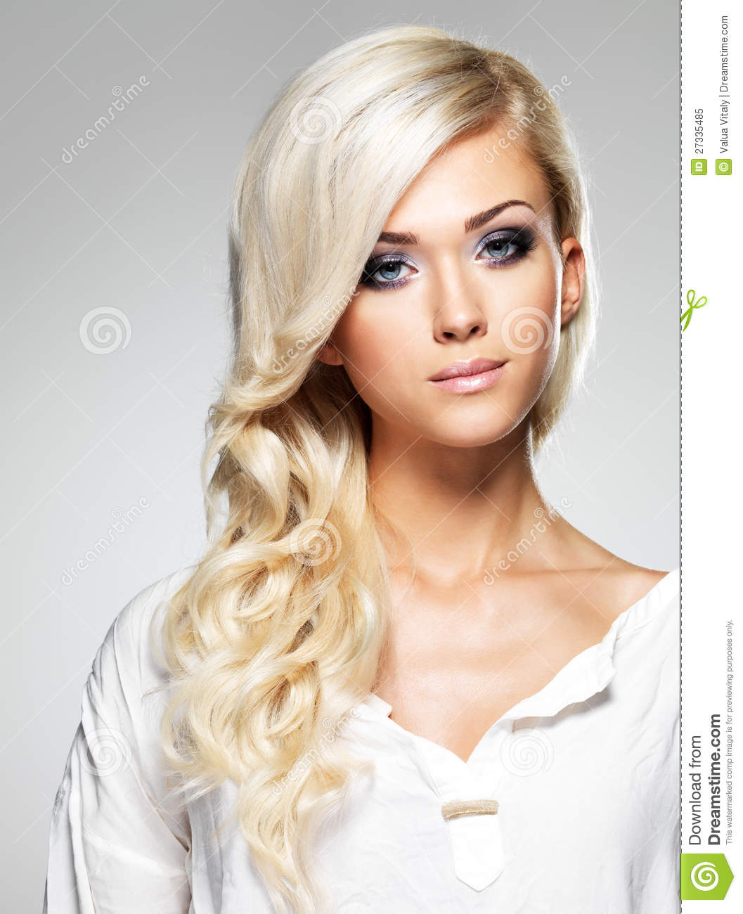 Fashion model with long white hair