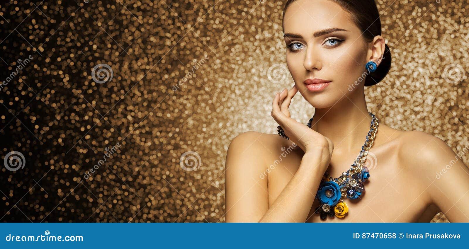 Fashion Model Makeup Portrait, Elegant Woman in Necklace Jewelry