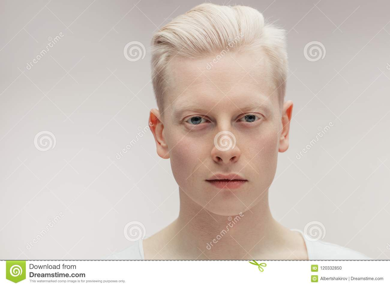 Fashion model male on white handsome albino guy closeup