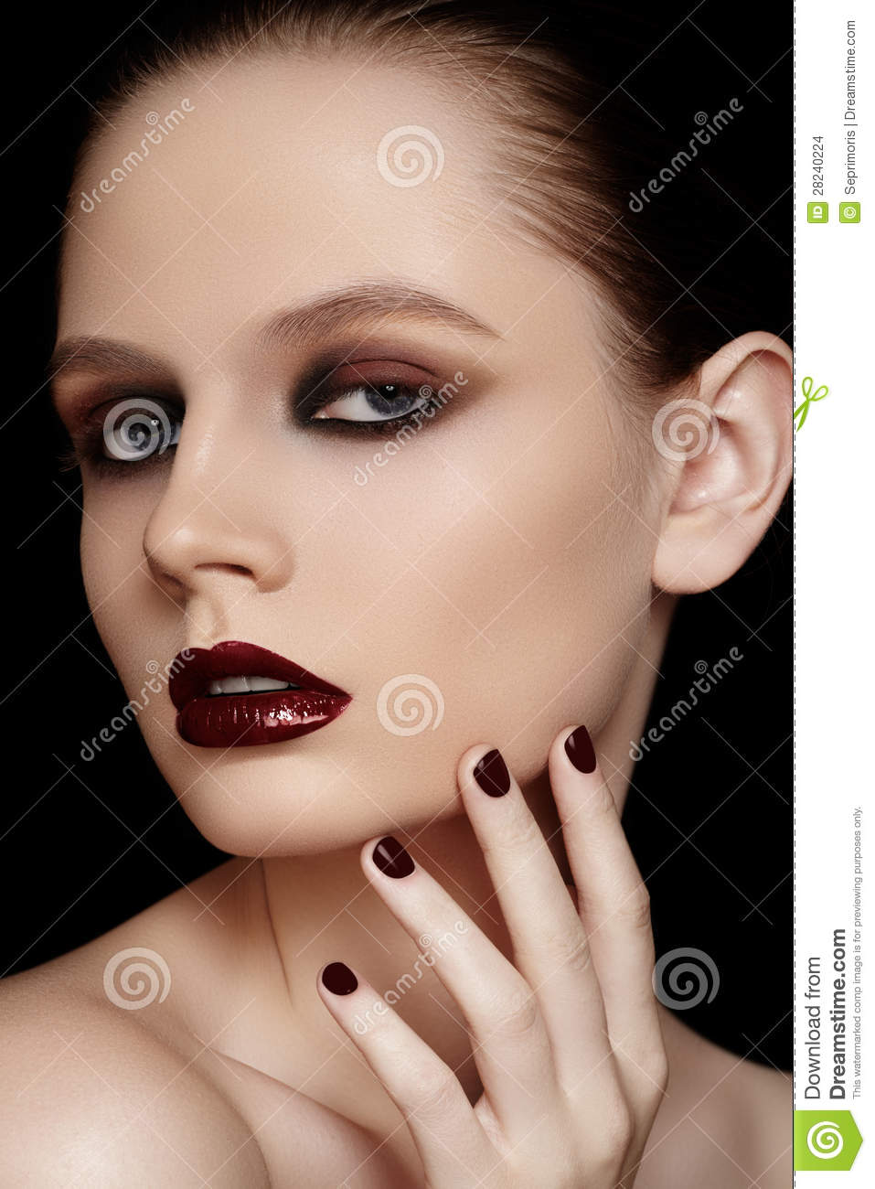 Fashion Model With Maroon Manicure, Make-up Stock Photo