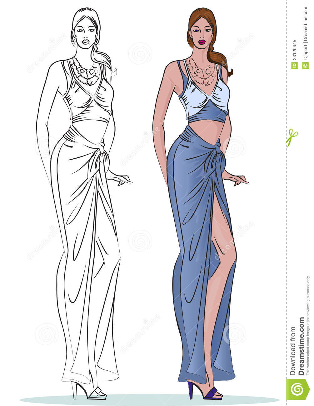 Fashion Model With Outline And Color Style Royalty Free