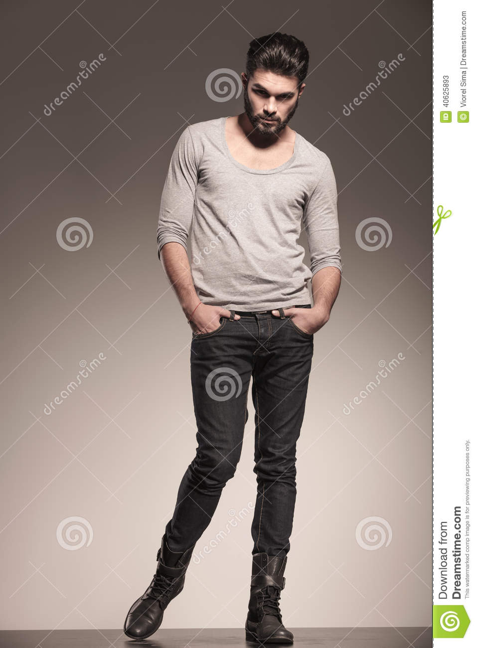 Fashion Model Posing With Hands In His Pockets Stock Photo Image 40625893