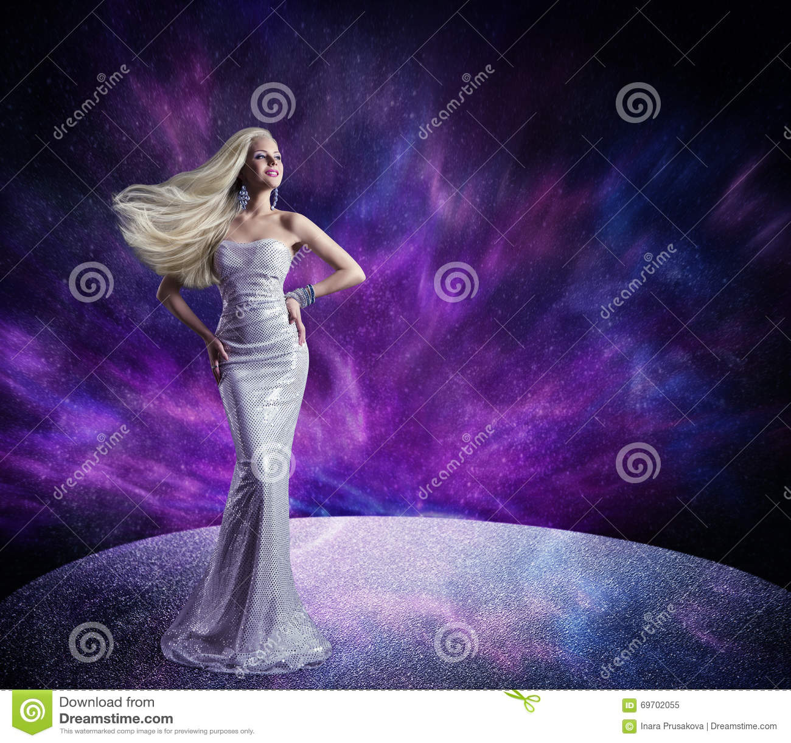 Fashion Model Posing Long Dress Woman Hair Waving Wind