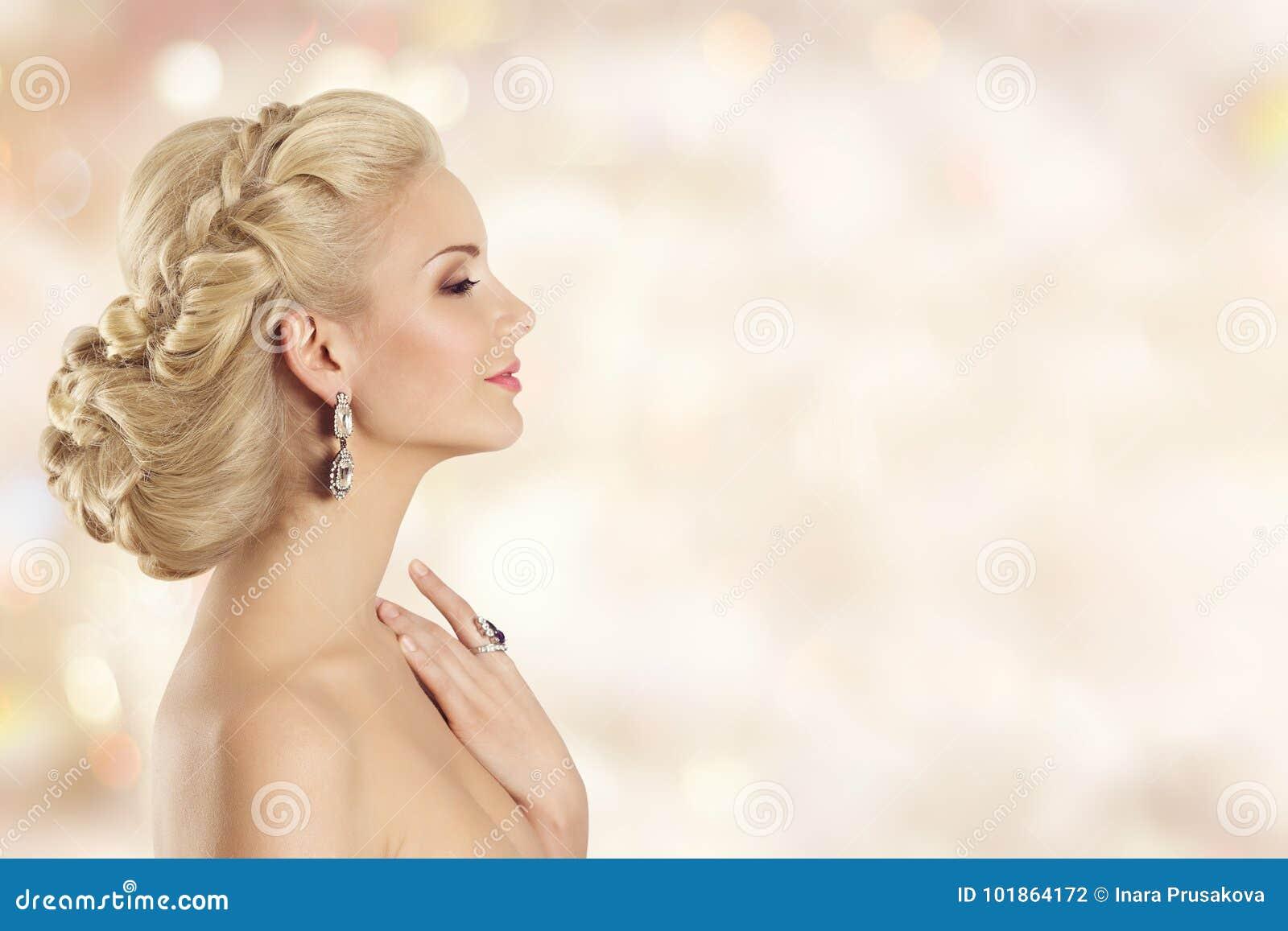 Fashion Model Profile Beauty Elegant Woman Hairstyle Portrait Stock