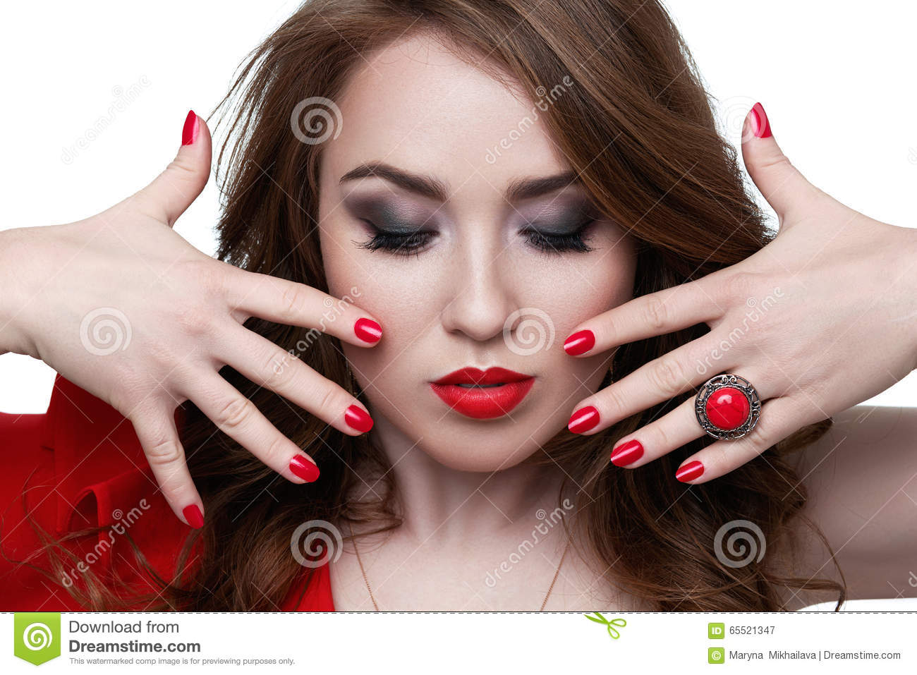Fashion Model With Red Lipstick And Nails. Beauty Stock Image ...
