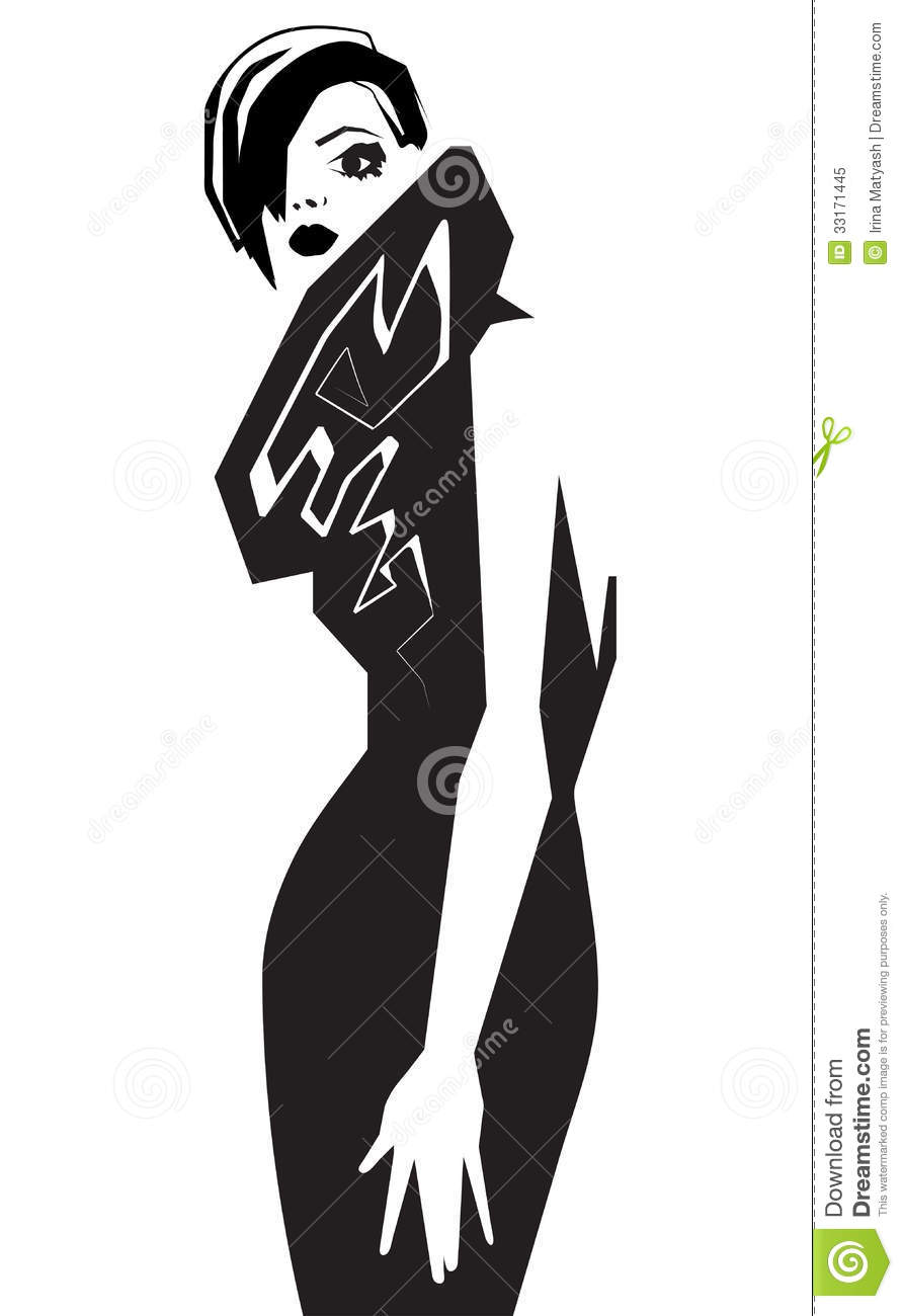 Fashion Model. Scetch. Vector Illustration Royalty Free