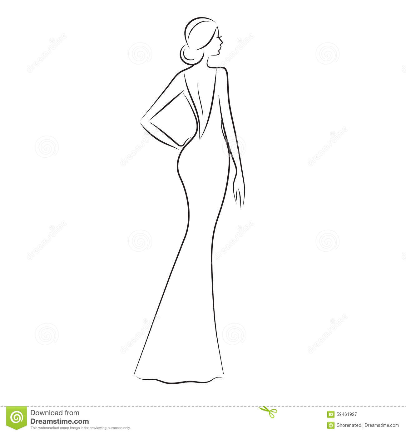 Sexy woman outline drawing
