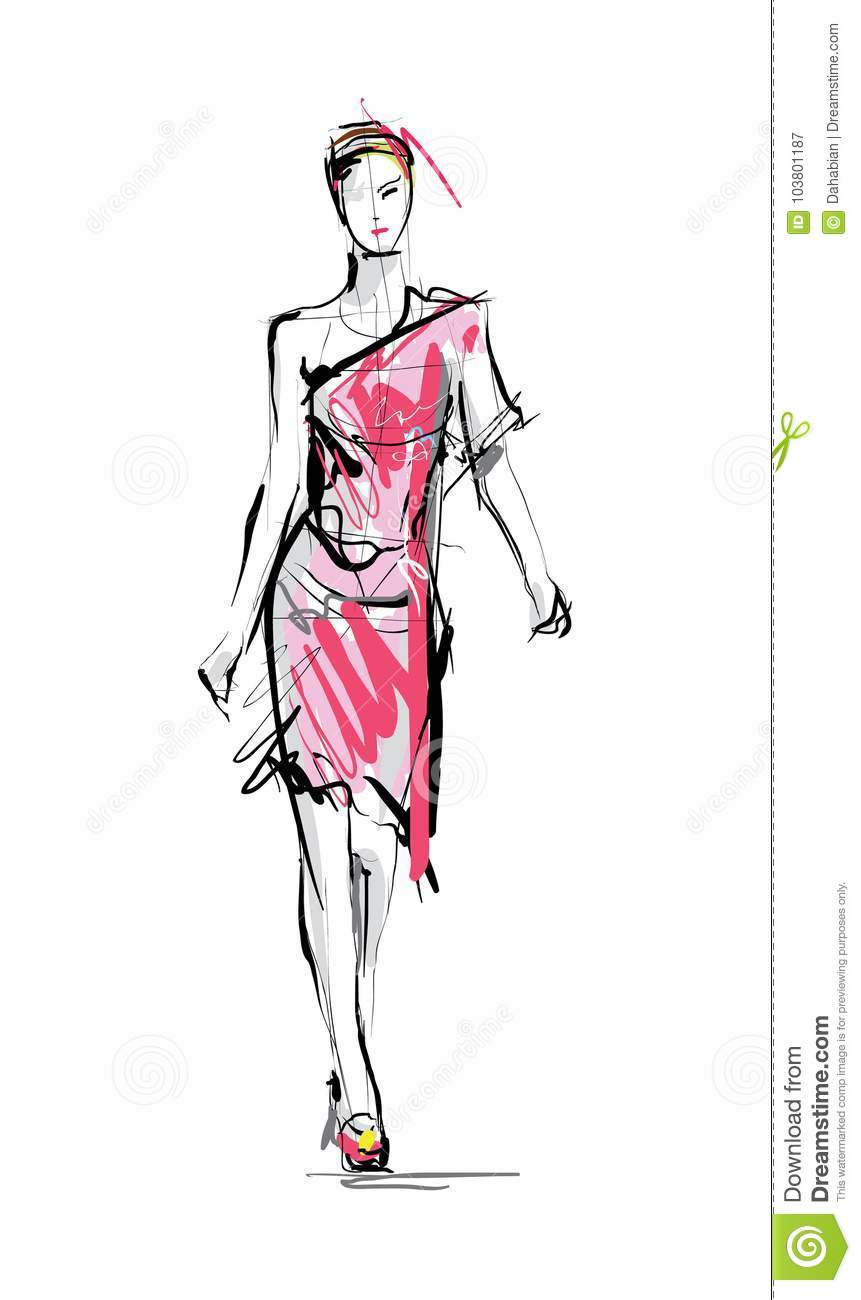 Fashion Model Sketch Stock Vector Illustration Of People 103801187