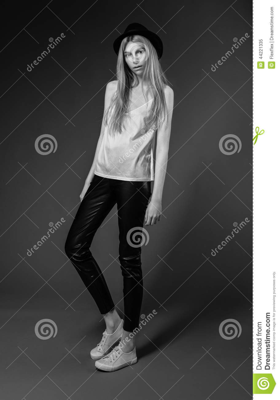 Fashion model in studio