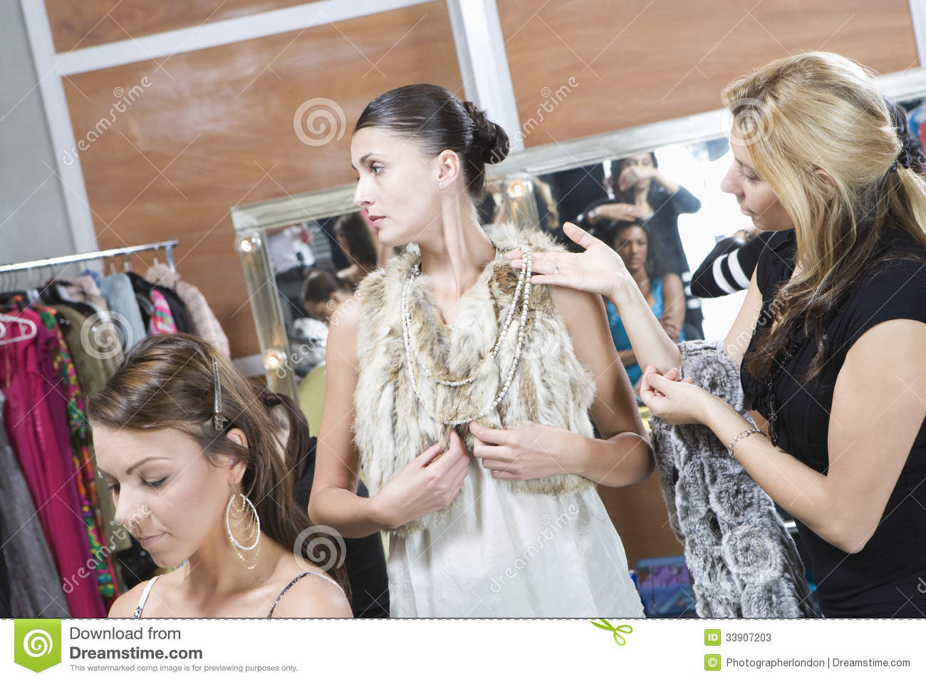 Fashion Model And Stylist In Dressing Room Stock Image - Image ...