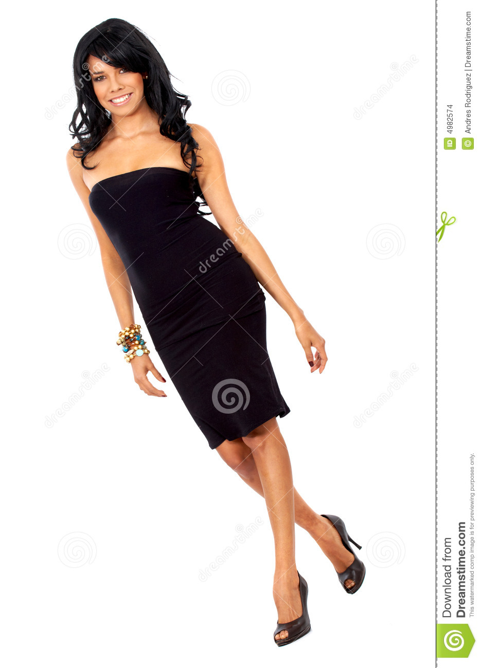 Walking Fashion Model In Black Mini Dress Stock Photo ... |Fashion Model Walking