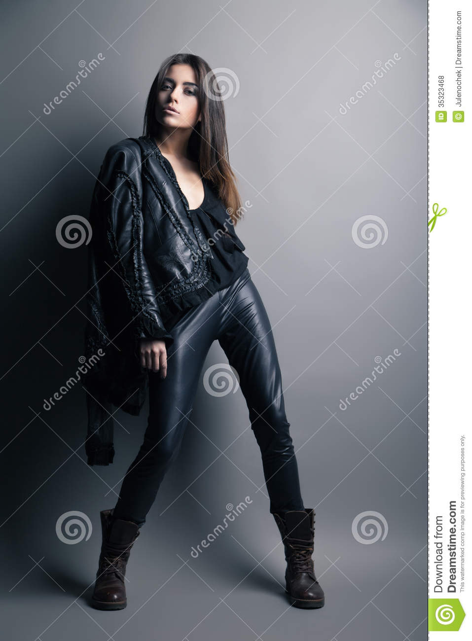 Fashion Model Wearing Leather Pants And Jacket Royalty ...