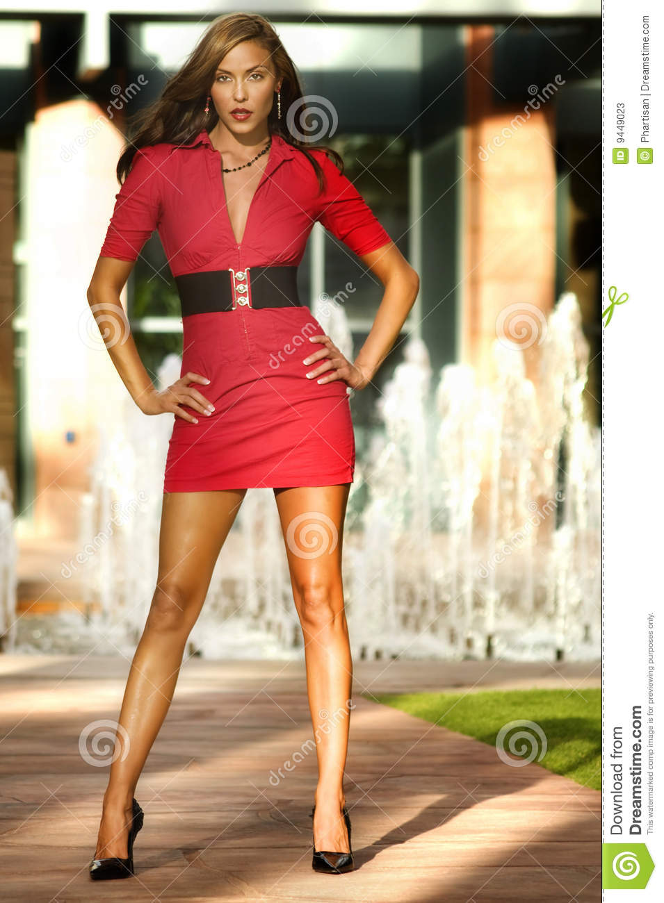 Fashion Model Png Free Download: Fashion Model Wearing Red Dress Stock Image