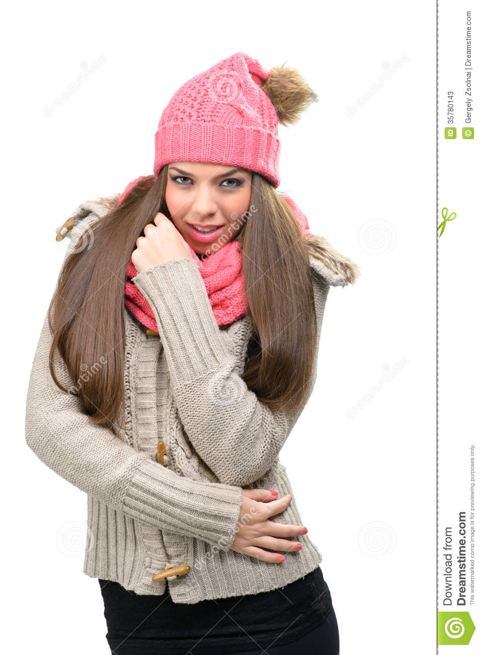 Fashion Model - Winter Clothes Hats Scarves In Indoor Stock Image - Image 35780143