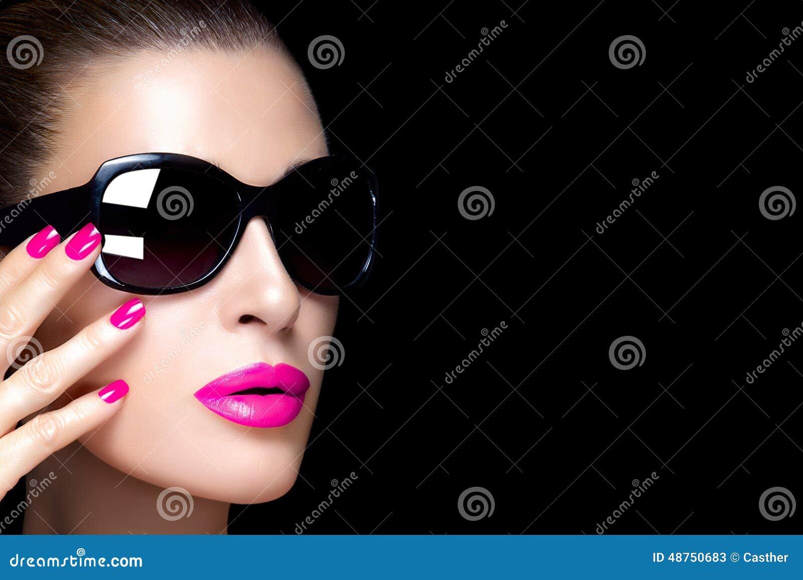 Fashion Model Woman In Black Oversized Sunglasses