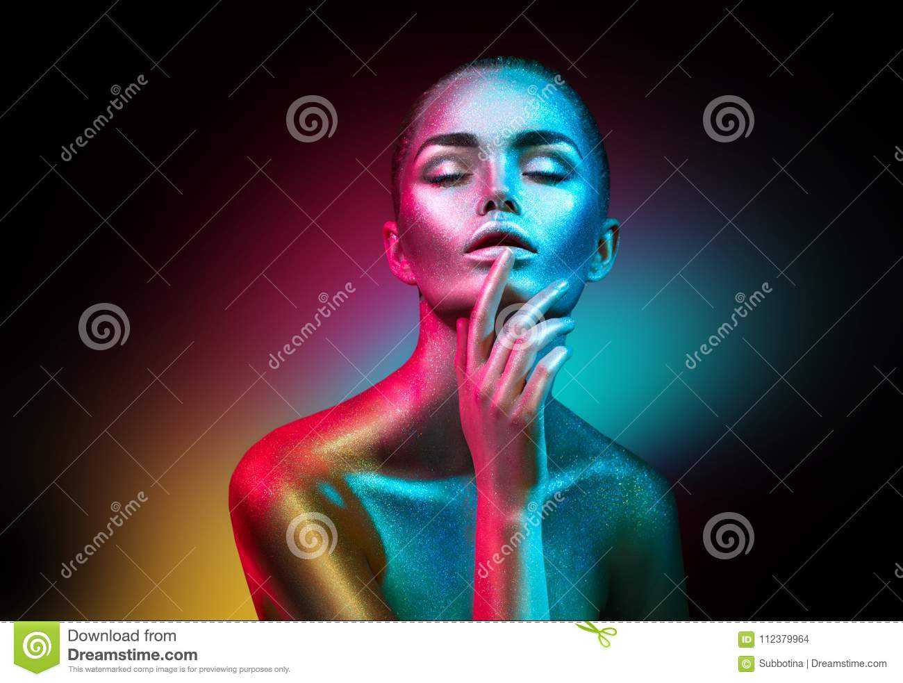 Download Fashion Model Woman In Colorful Bright Sparkles And Neon Lights Posing In Studio, Portrait Of Beautiful Girl Stock Photo - Image of blue, model: 112379964