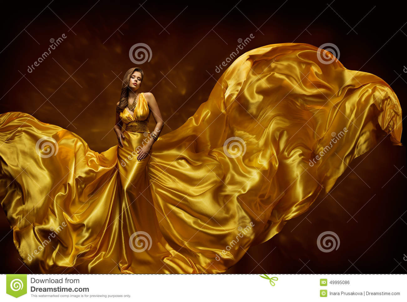 Fashion Model Woman Dress, Lady In Fluttering Silk Beauty Gown, Fabric Waving On Wind, Beautiful Girl With Long Flying Cloth