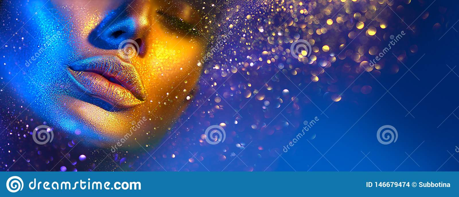 Fashion model woman face in bright sparkles, colorful neon lights, beautiful sexy girl lips. Trendy glowing gold skin makeup