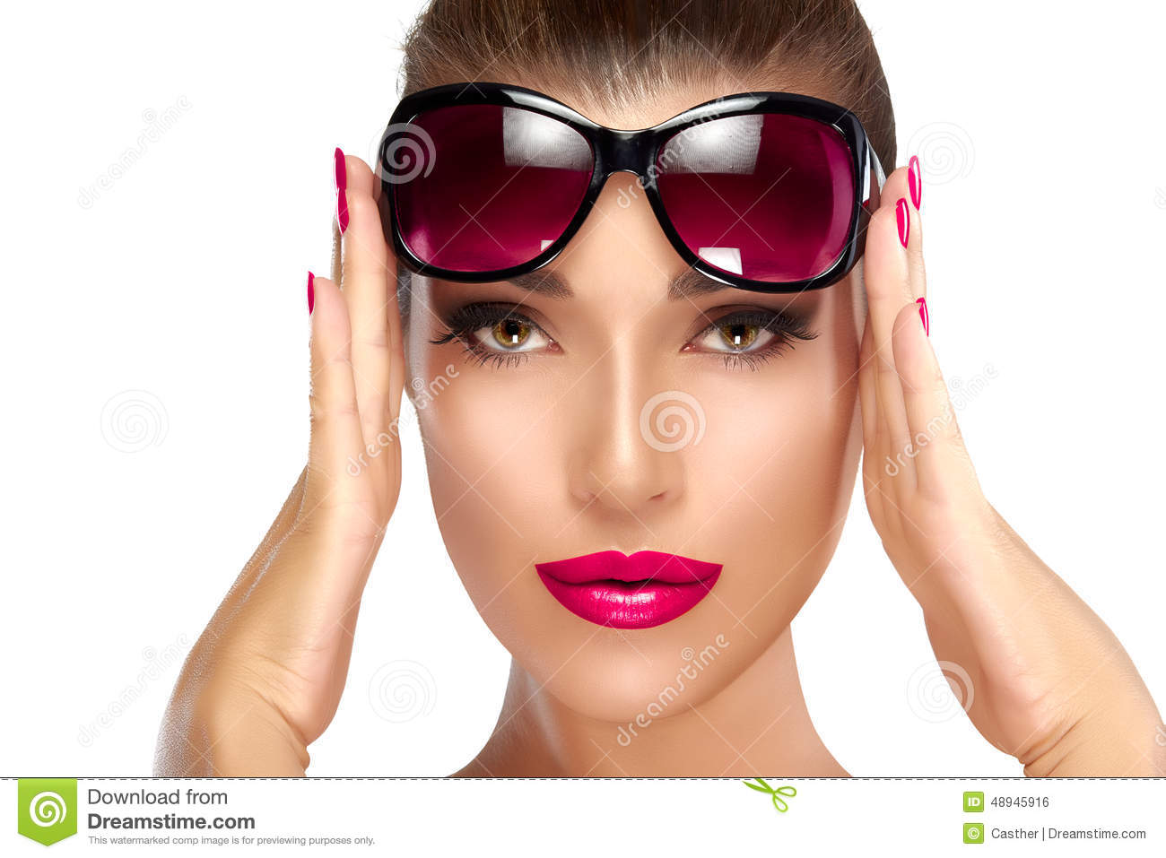 Beautiful Girl Holding Fashion Beauty Magazine Stock Image: Fashion Model Woman Holding Her Shades On Forehead Stock