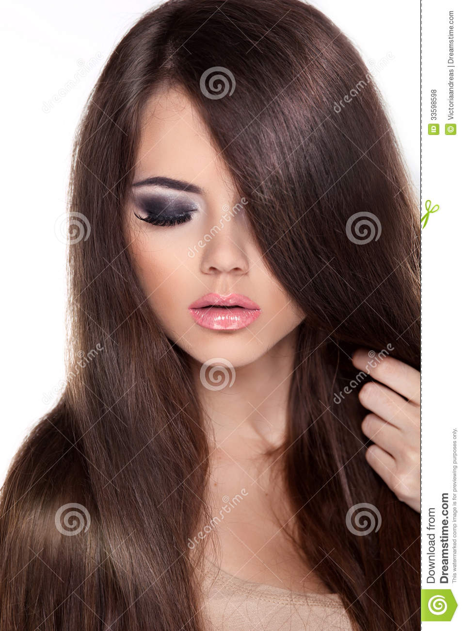 Beauty Brown Hair Woman With Smile On Her Face Royalty: Fashion Model Woman With Long Healthy Brown Hair. Beauty