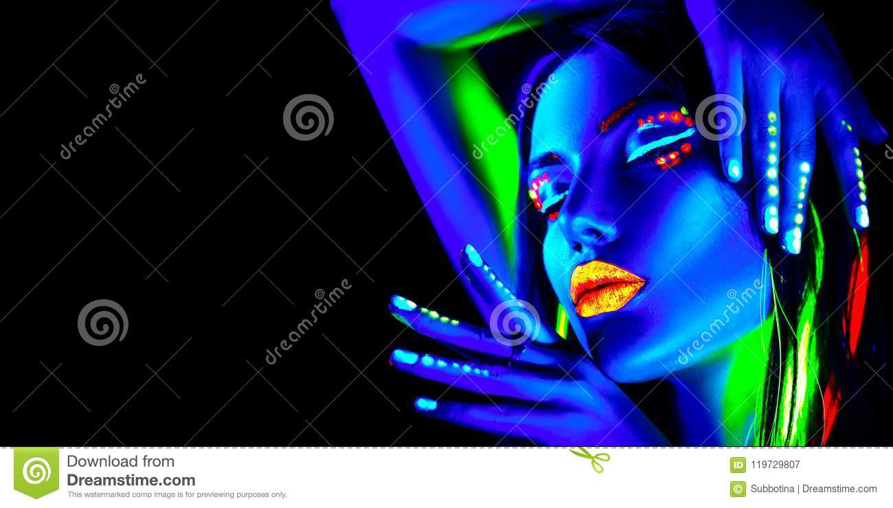 Fashion Model Woman In Neon Light, Portrait Of Beautiful