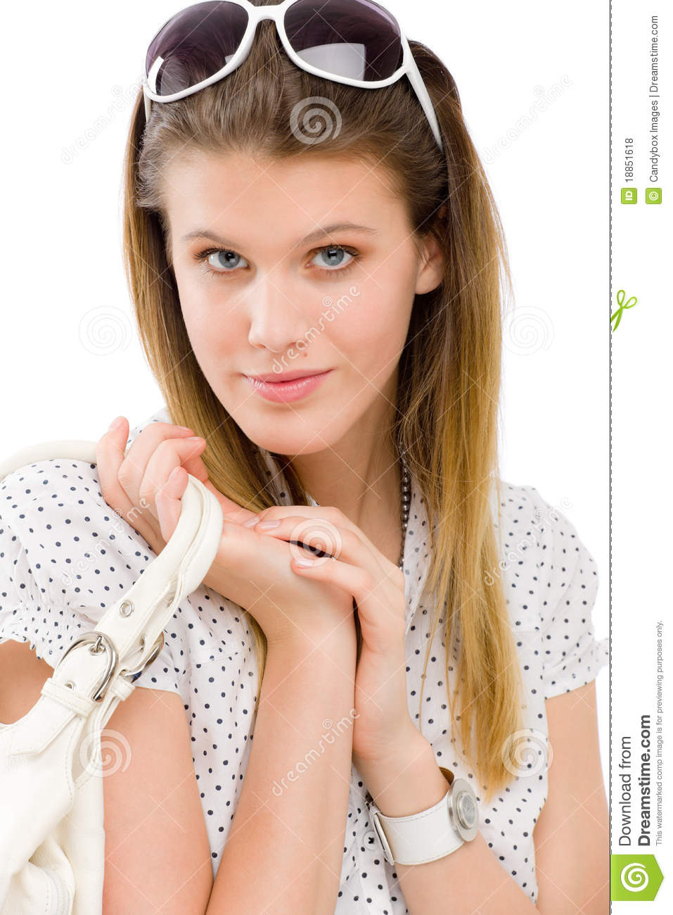 Fashion model - young woman posing in summer designer clothes