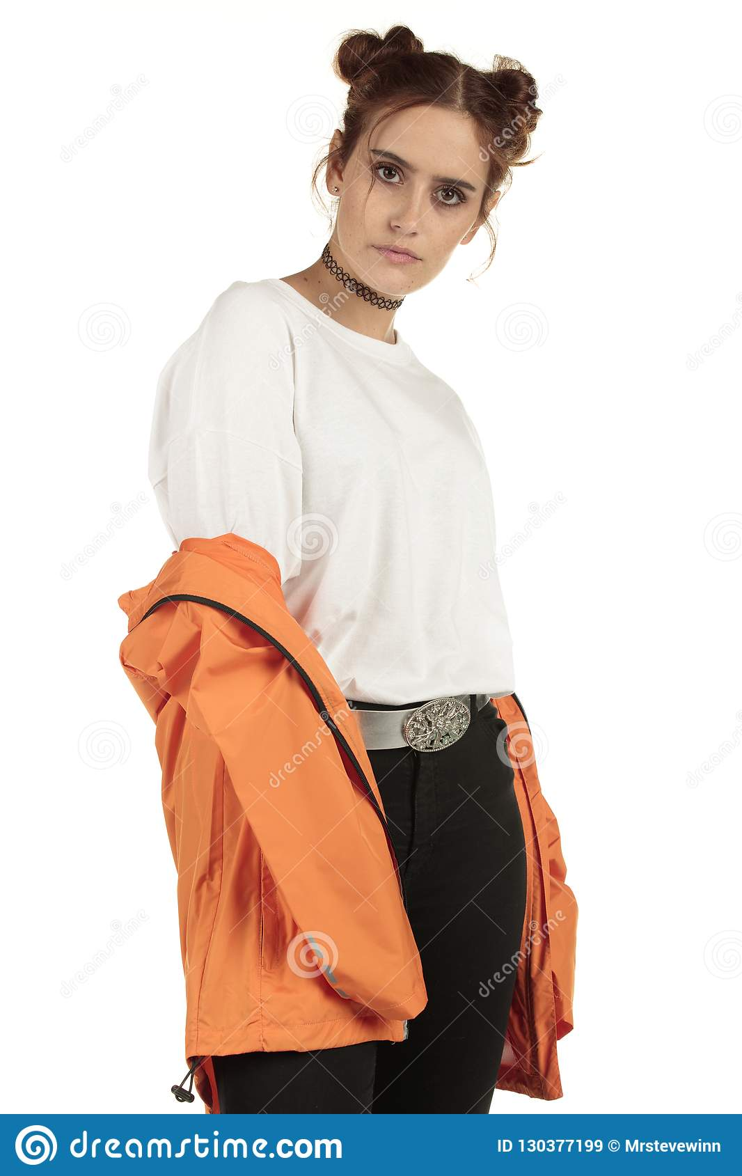 e46d8d02721a0b Fashion model in a XXL street wear tshirt and off the shoulder tracksuit  large space for