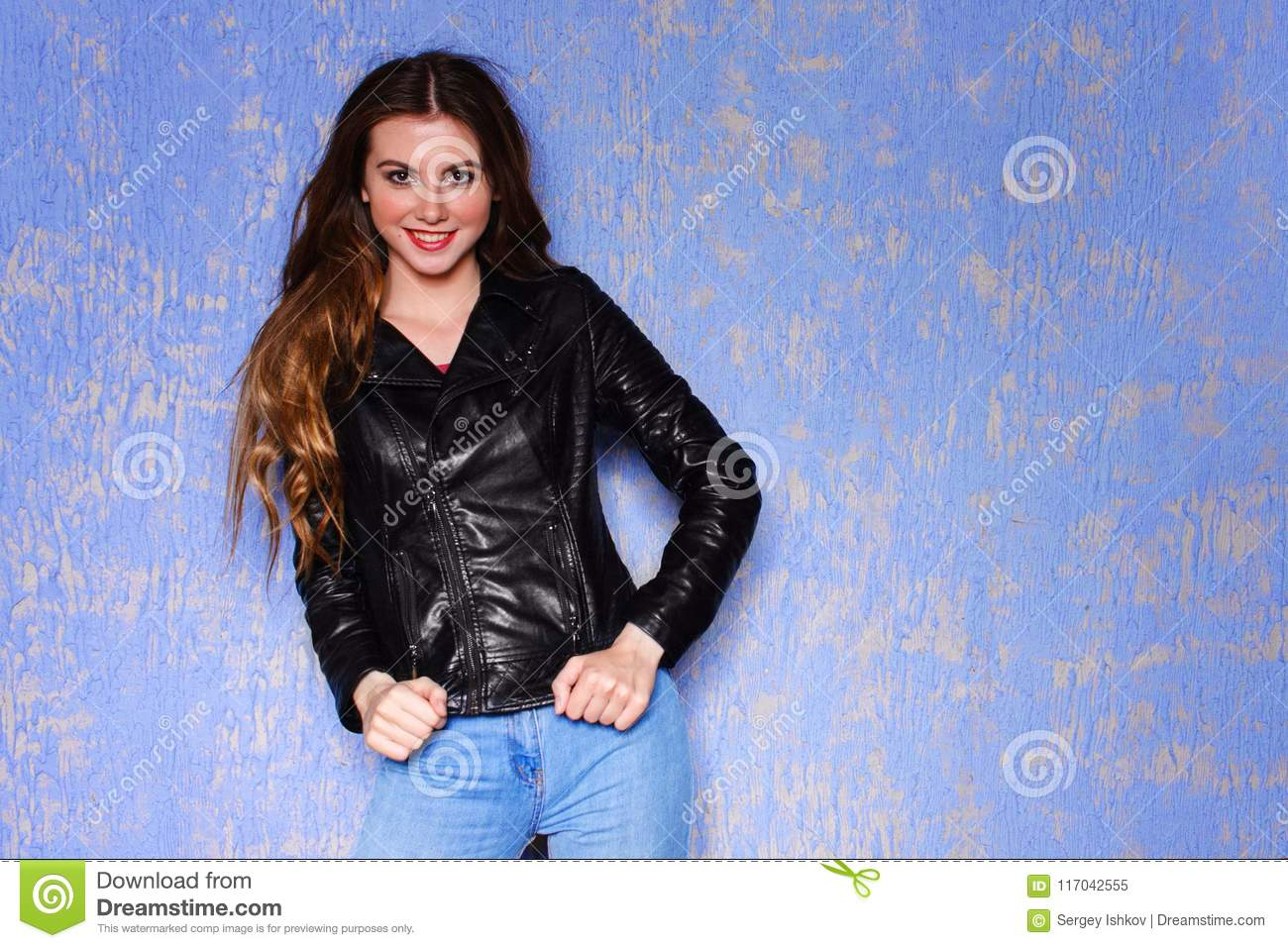 Fashion Model Young Smile Woman In Black Leather Jacket Punk Rock