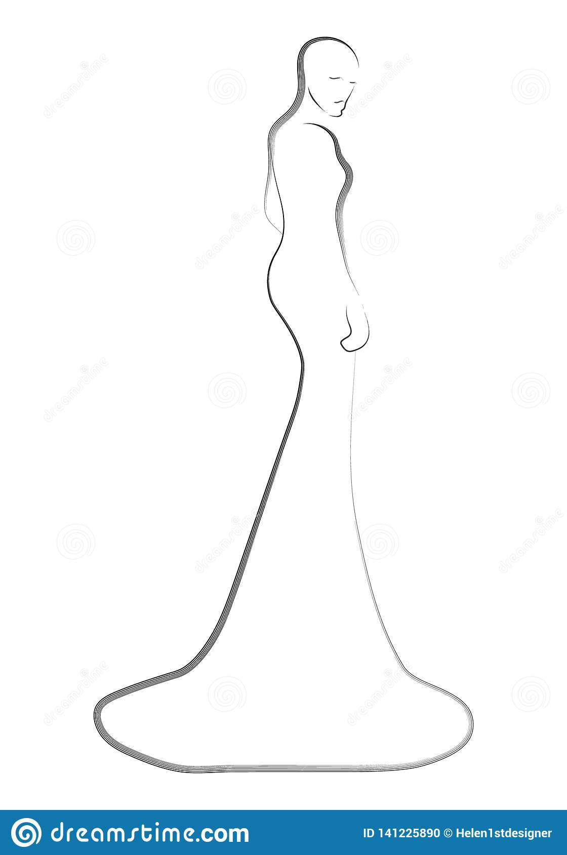 Fashion models in the dress sketch illustration