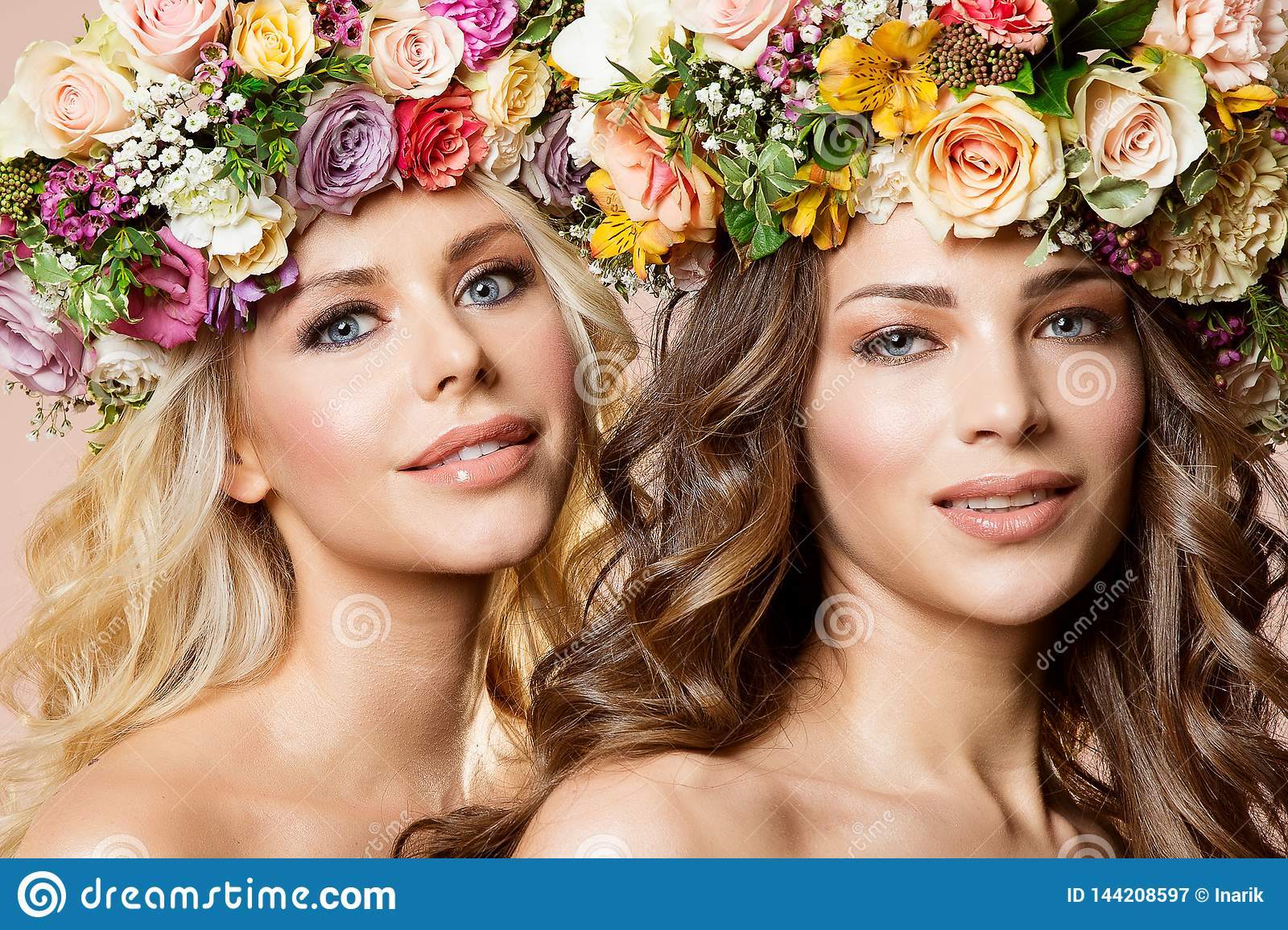 Fashion Models Flowers Hairstyle Beauty Portrait, Two ...