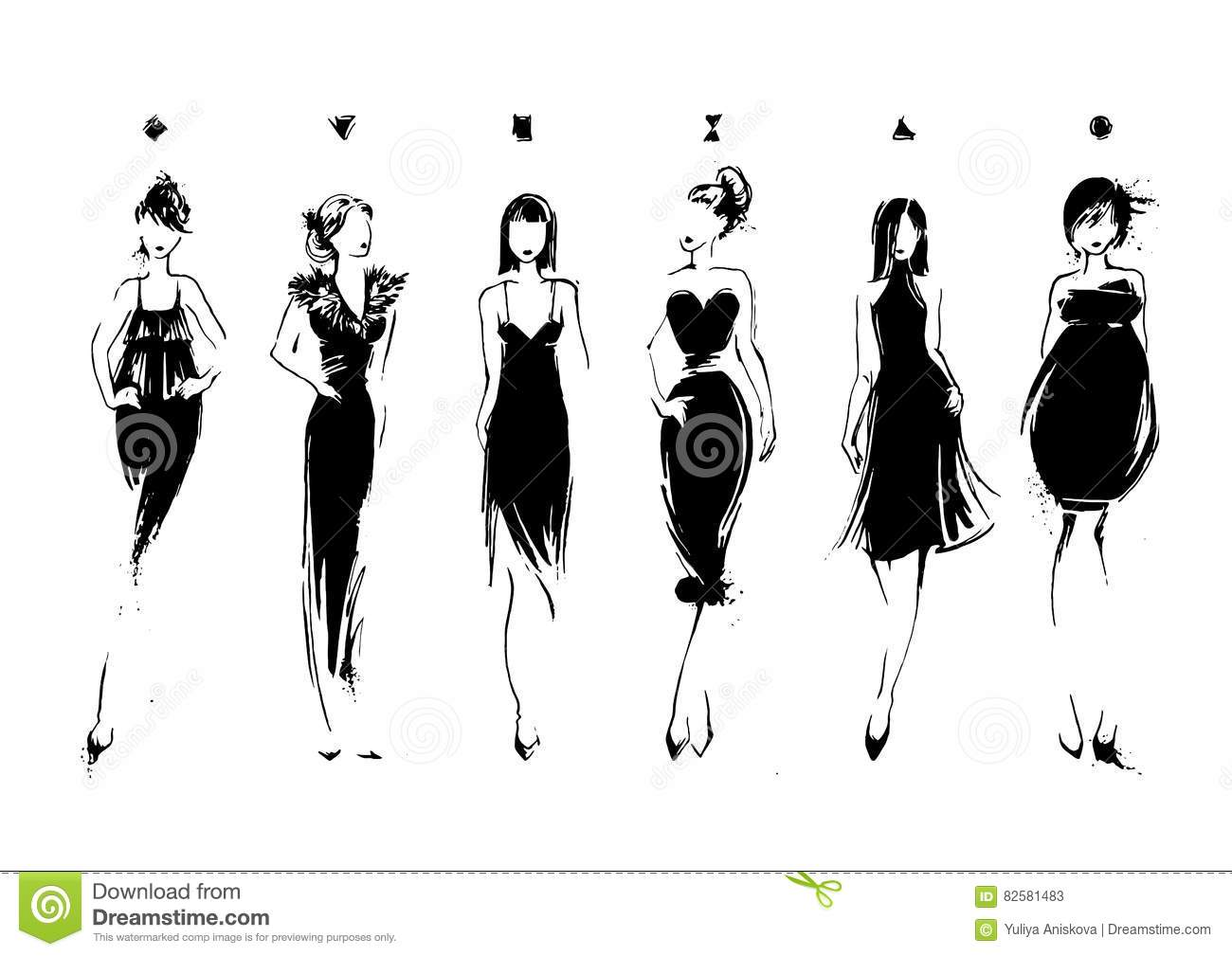 Fashion Models In Sketch Style Collection Of Evening