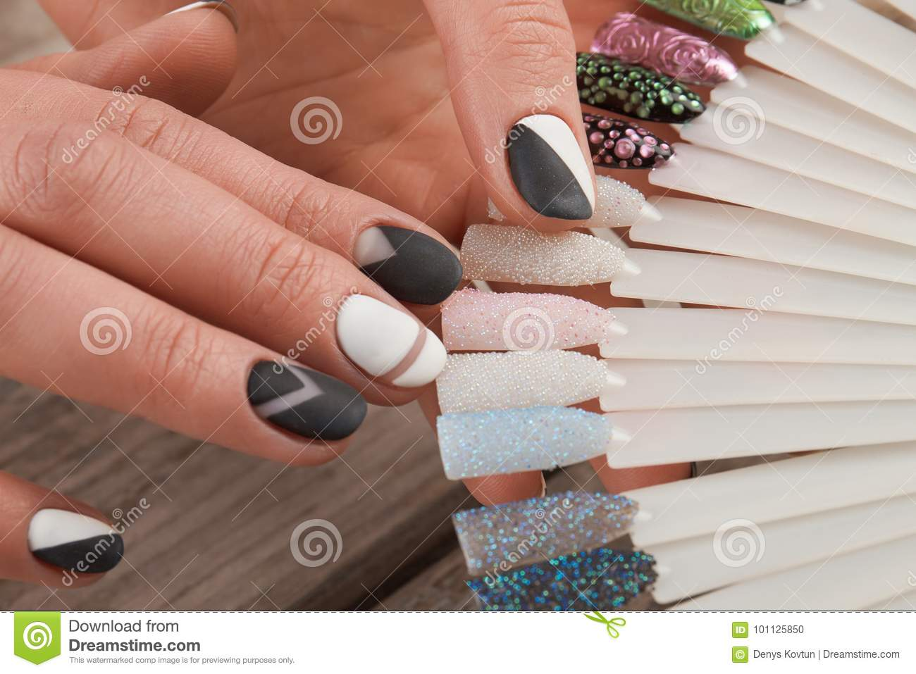 Fashion Nail Art Samples In Female Hands Stock Photo Image Of