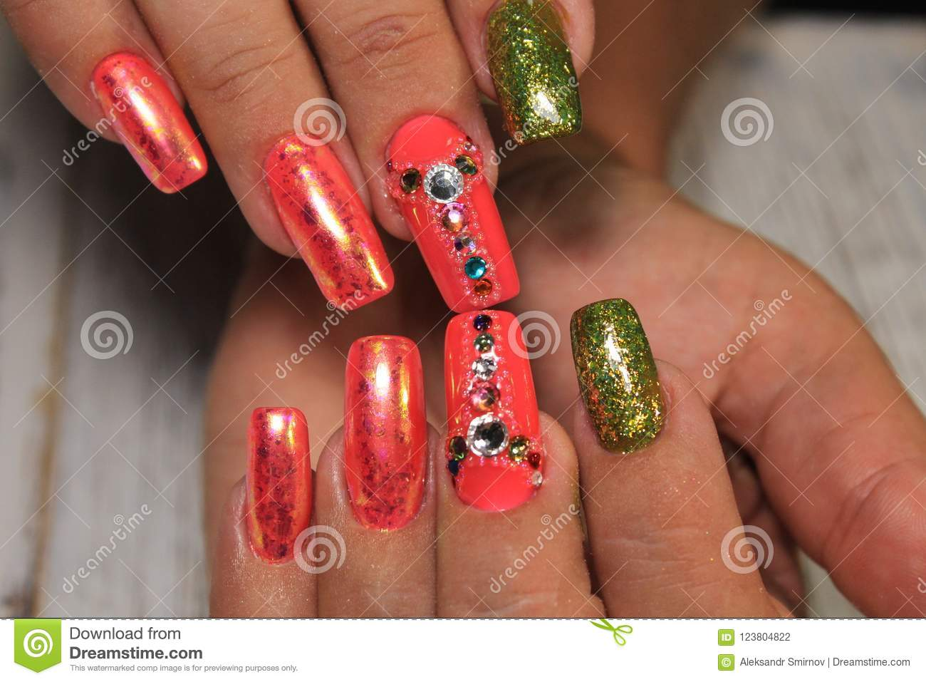 Fashion Nails Design Manicure Best Design Of 2018 Stock Photo