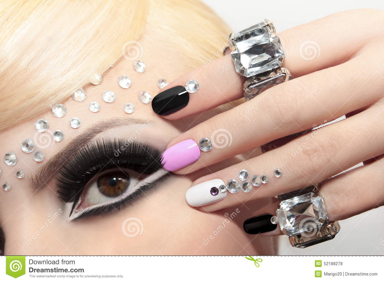 Fashion Nails And Makeup. Stock Photo 52188278 - Megapixl