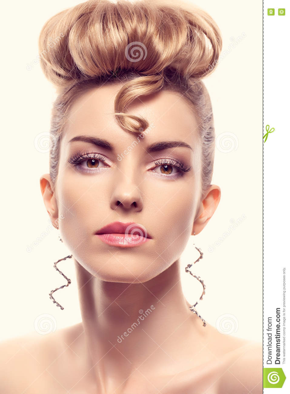 Fashion Natural Makeupwoman With Mohawk Hairstyle Stock Image