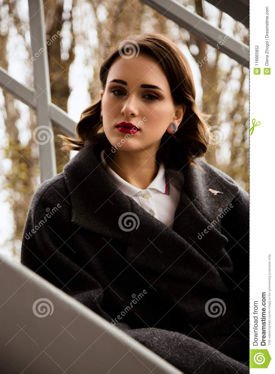 Fashion Outdoor Portrait Of Stylish Woman On The Street