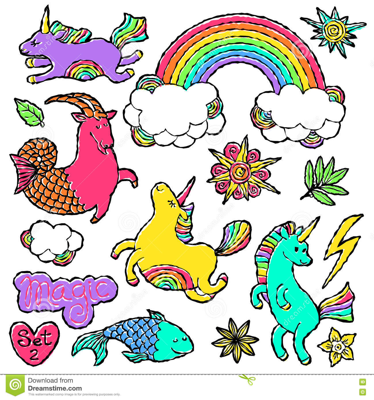 Fashion patch badge elements in cartoon 80s-90s comic style. Set modern trend doodle pop art sketch.